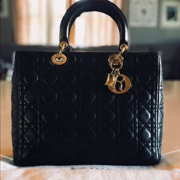 Dior Handbags - 💯 Authentic large leather lady dior lambskin 70bdcb20ab652